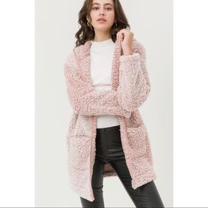 Hannah Beury Jackets & Coats - Hooded Oversized Sherpa Fleece Teddy Jacket